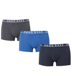 BOSS Bodywear Three Pack Regular Rise Blue, Grey & Black Boxer Trunks