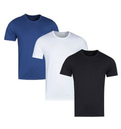 BOSS 3 Pack Black, White & Blue Crew Neck T-Shirts