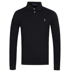 Polo Ralph Lauren Slim Fit Long Sleeve Lightweight Black Polo Shirt