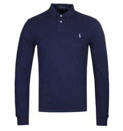 Polo Ralph Lauren Slim Fit Long Sleeve Lightweight Navy Polo Shirt