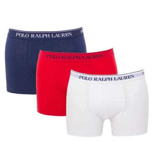 Polo Ralph Lauren 3 Pack Classic Trunk Boxers - White, Red & Navy