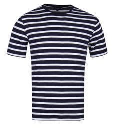 Armor Lux Classic Striped Crew Neck White T-Shirt