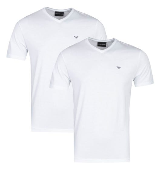 Emporio Armani 2 Pack White V-Neck T-Shirts