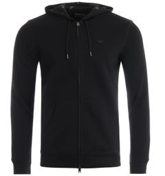 Emporio Armani Zip-Through Hooded Sweatshirt - Black