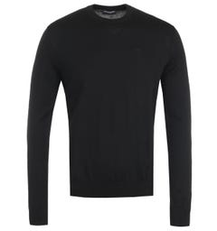 Emporio Armani Virgin Wool Black Crew Neck Sweater
