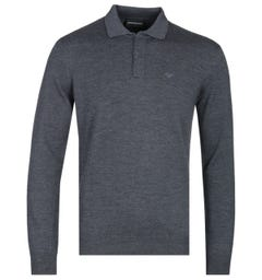 Armani Exchange Charcoal Grey Long Sleeve Knitted Polo Shirt