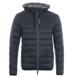 Armani Exchange Puffer Down Hooded Jacket - Navy