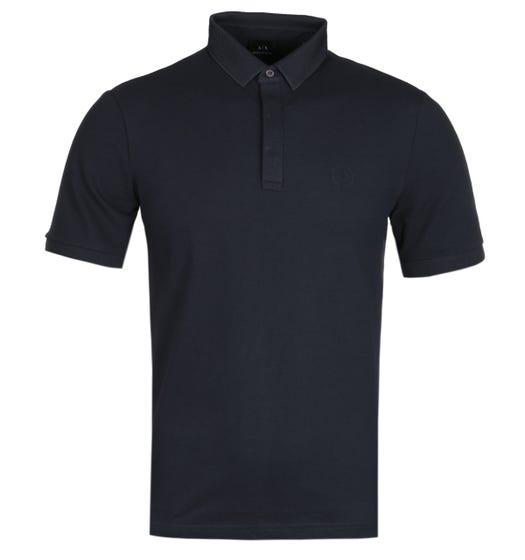 Armani Exchange Mesh Collar Navy Polo Shirt
