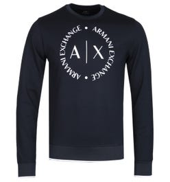 Armani Exchange Round Logo Navy Crew Neck Sweatshirt