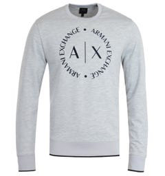 Armani Exchange Round Logo Grey Crew Neck Sweatshirt