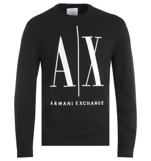Armani Exchange Icon Black Crew Neck Sweatshirt