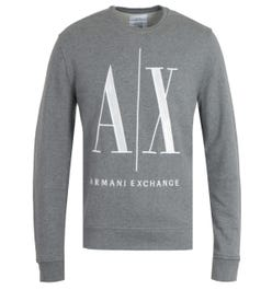 Armani Exchange Icon Grey Crew Neck Sweatshirt