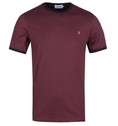 Farah Groves Ringer Burgundy T-Shirt