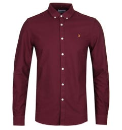 Farah Brewer Slim Fit Burgundy Oxford Shirt
