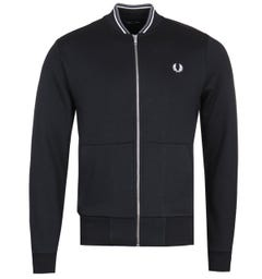 Fred Perry Zip Through Black Bomber Sweatshirt