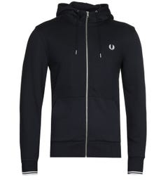 Fred Perry Zip-Through Hooded Sweatshirt - Navy