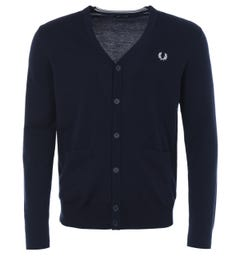 Fred Perry Classic Merino Wool Blend Cardigan - Navy
