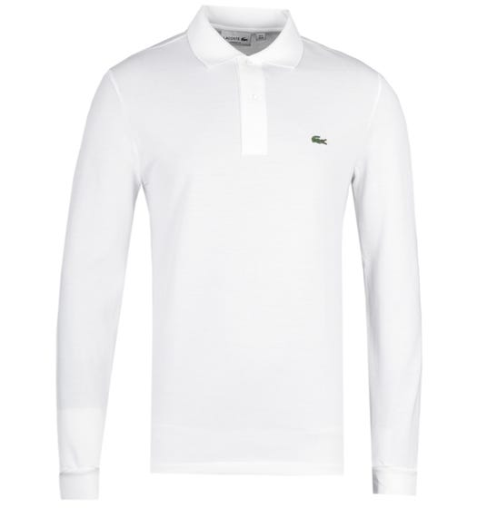 Lacoste L1312 White Classic Fit Long Sleeved Pique Polo Shirt