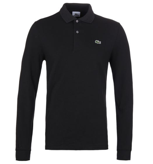 Lacoste L1312 Black Classic Fit Long Sleeved Pique Polo Shirt