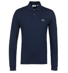 Lacoste L1312 Navy Classic Fit Long Sleeved Pique Polo Shirt