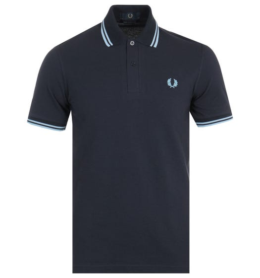 Fred Perry Made In England M12 Twin Tipped Polo Shirt - Navy & Ice
