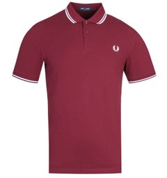 Fred Perry M3600 Port Red & White Twin Tipped Polo Shirt
