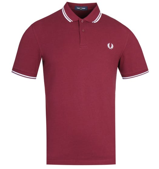 Fred Perry M3600 Twin Tipped Polo Shirt - Port & White