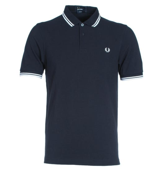 Fred Perry M3600 Twin Tipped Polo Shirt - Navy & White