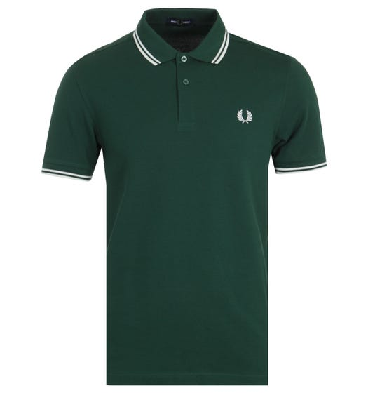 Fred Perry M3600 Twin Tipped Polo Shirt - Ivy & White