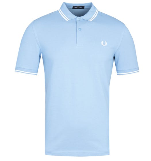 Fred Perry M3600 Twin Tipped Polo Shirt - Sky & White