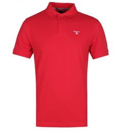 Barbour Tartan Red Pique Polo Shirt