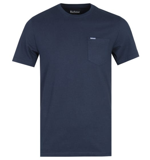 Barbour Tailored Fit Logo Navy Pocket T-Shirt