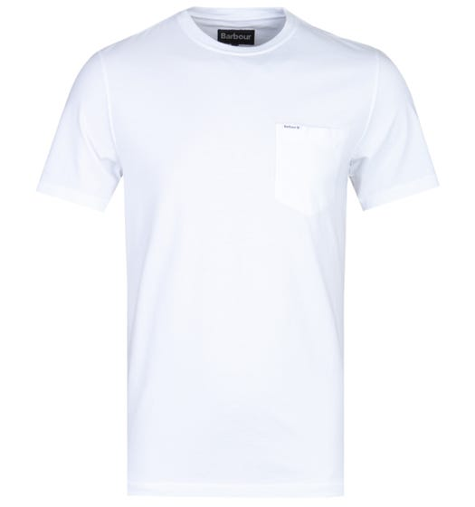 Barbour Tailored Fit Logo White Pocket T-Shirt