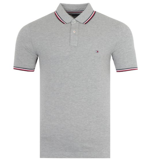 Tommy Hilfiger Organic Cotton Slim Fit Tipped Polo Shirt - Heather Grey