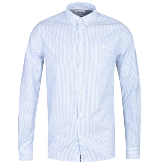Norse Projects Anton Regular Fit Blue Stripe Oxford Shirt