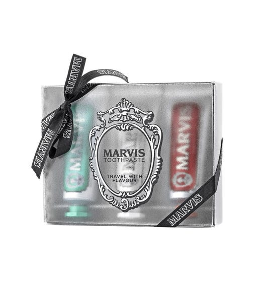 Marvis Travel Toothpaste Set Classic Strong Mint, Whitening Mint & Cinnamon Mint