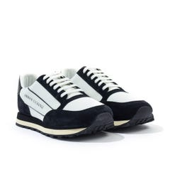 Armani Exchange Contrasting Suede Leather Trainers - Black & White