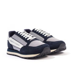 Armani Exchange Contrasting Suede Leather Trainers - Navy, Grey & White