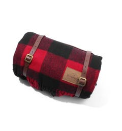 Pendleton Wool Motor Robe with Leather Carrier Blanket - Rob Roy Plaid