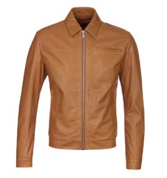 HUGO Lantik Tan Leather Jacket