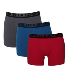 BOSS Bodywear 3 Pack Red, Blue & Grey Stretch Cotton Trunks