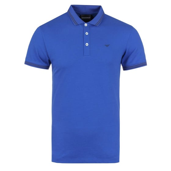 Emporio Armani Blue Tipped Slim Fit Short Sleeve Polo Shirt