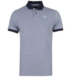 Barbour Short Sleeve Contrast Collar Midnight Blue Sports Polo Shirt