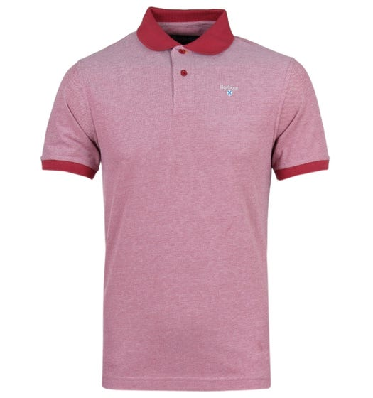 Barbour Short Sleeve Contrast Collar Raspberry Red Sports Polo Shirt