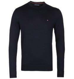 Tommy Hilfiger Navy Cotton Crew Neck Sweater