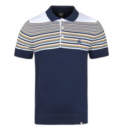 Pretty Green Navy Striped Short Sleeve Knitted Polo Shirt