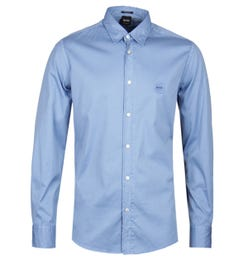 BOSS Reverse Garment Dyed Blue Shirt