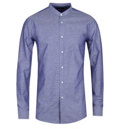BOSS Jordi Slim Fit Navy Grandad Shirt