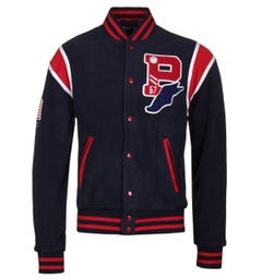 Polo Ralph Lauren Navy Teddy Fleece Varsity Jacket