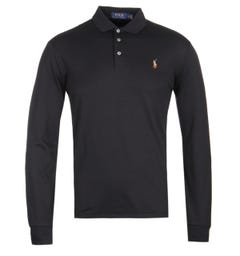 Polo Ralph Lauren Slim Fit Long Sleeve Black Pima Polo Shirt